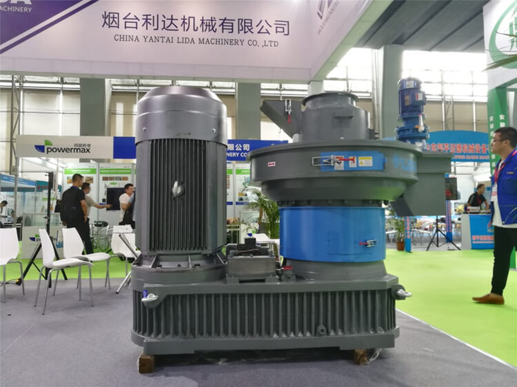 wood pellet mill during exhibition